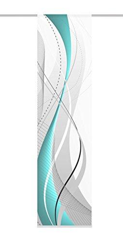 Home fashion 87152-728, Tenda scorrevole con stampa digitale Carlisle, in tessuto decorativo effetto seta, 245 x 60 cm, Turchese (Türkis)