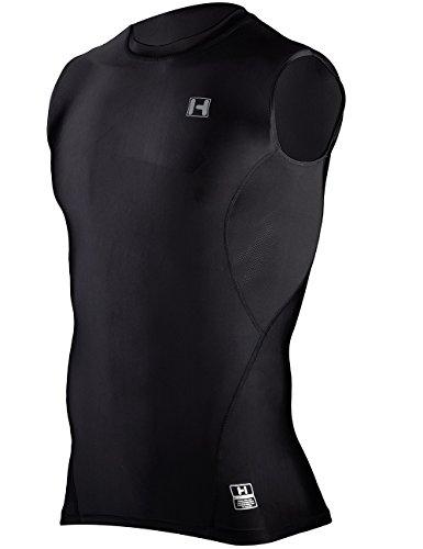 Hugesports Men's Sleeveless Running Exercise Workout Fitness Baselayer Compression Shirt Black XLarge