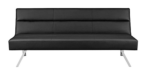 Premium Sofa Futon Couch, Modern Design W/ Rich Faux Leather, Sturdy Stainless Steel Legs and Comfortable Memory Foam Cushion, From Sofa to Bed in Seconds (Futon Sofa Bed Full Size compare prices)