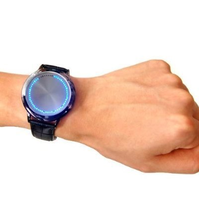 Touch Screen LED Watch Leather Band With 60 Blue LED Lights