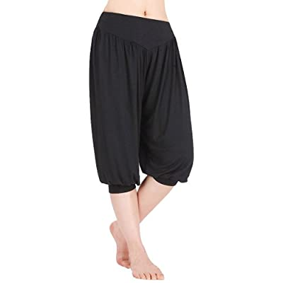 DJT Womens Soft Elastic Waistband Fitness Yoga Herem Cropped Pants