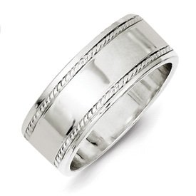 Genuine IceCarats Designer Jewelry Gift Sterling Silver 8Mm Designed Edge Band Size 11.00