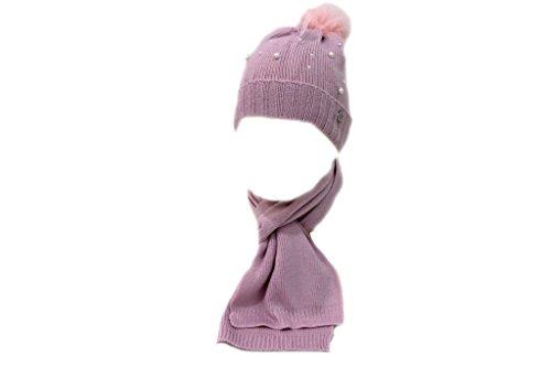 Sciarpa e cappello bambina Lancetti junior coordinato x9540 rosa moda italiana