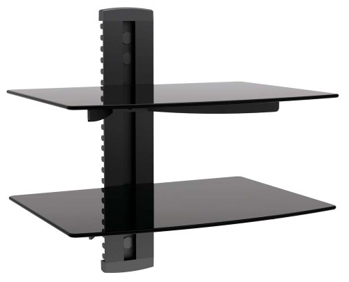 Find Bargain Impact Mounts 2 Tier Dual Glass Shelf Wall Mount for Cable Box Component DVR DVD Game S...