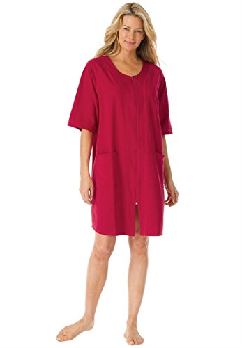 Dreams & Co. Women's Plus Size Short French terry robe #174; (CLASSIC RED,1X)