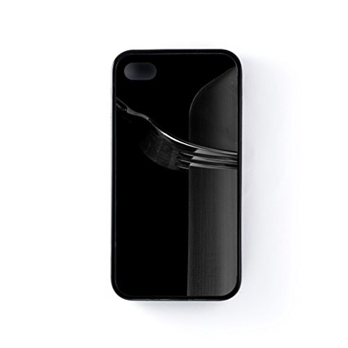 Knife And Fork Black Silicon Case Snap-On Protective Back Cover Rubber Case For Apple® Iphone 4 / 4S By Mick Agterberg + Free Crystal Clear Screen Protector