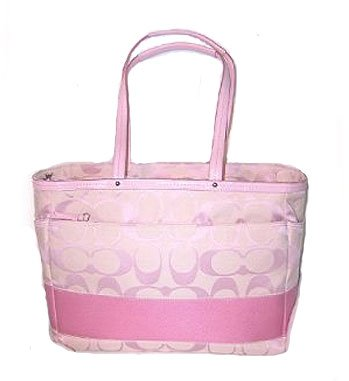 Coach Signature Stripe Multifunction Diaper Baby Bag Purse Tote 13803 Pink