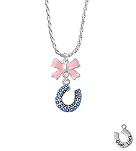 Beaded Blue Crystal Horseshoe with Good Luck Light Pink Emma Bow Necklace