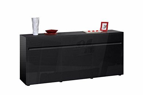 Sideboard-180-cm-URBANA-schwarz-Lack-hochglanz-Schrank-Kommode-3-trig