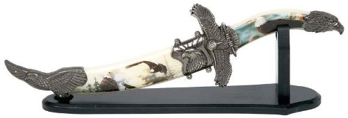 "12"" Eagle Fixed Blade Knife- Sheath & Stand *** Product Description: Features Decorative Eagle Theme Nature Scene On Handle And Sheath, Stainless Steel Honed Curved Blade And Wooden Stand. ***"