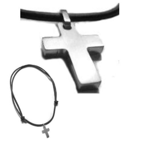 Leather Cord Brushed Stainless Steel Cross Necklace