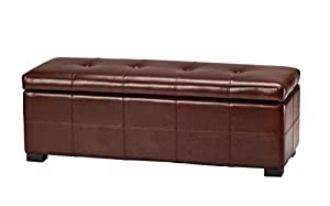 Safavieh Hudson Collection NoHo Tufted Cordovan Leather Large Storage Bench