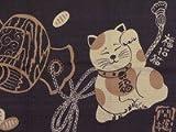 Small Furoshiki Japanese Wrapping Cloth Shantung Chief Manekineko Lucky Gavel 50x50cm from Japan