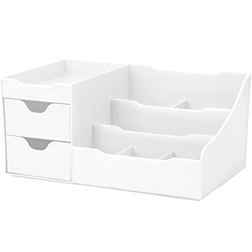 Uncluttered Designs Makeup Organizer with Drawers (White)