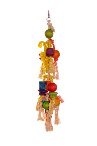 Liberta Knotted Rope And Wooden Balls Toy For Parrot, 46 Cm, Multi- Coloured