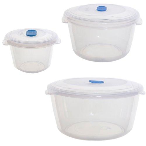 New Plastic Round 3 Pk Whitefurze Freezer To Microwave Food Storage Clear Boxes