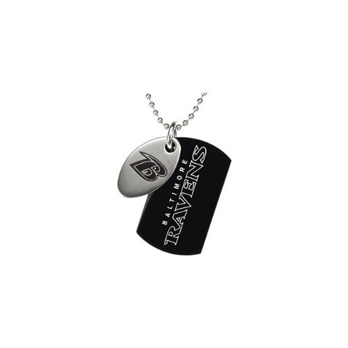 St Steel 45mm Baltimore Ravens NFL Football Team Jewelry Men 2 Dog Tag W/Chain