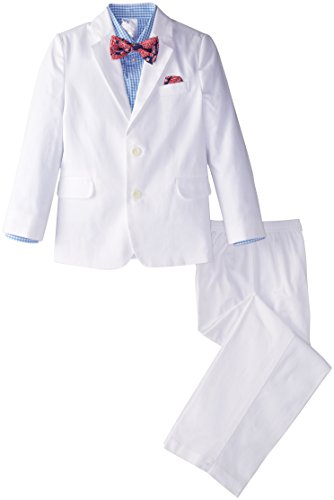 Nautica Little Boys' Solid Twill Suit Set,White,6