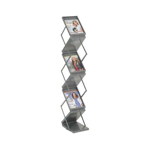 Safco Products Ready-Set-Go Double Sided Folding Literature Display, Gray, 4132Gr front-676429