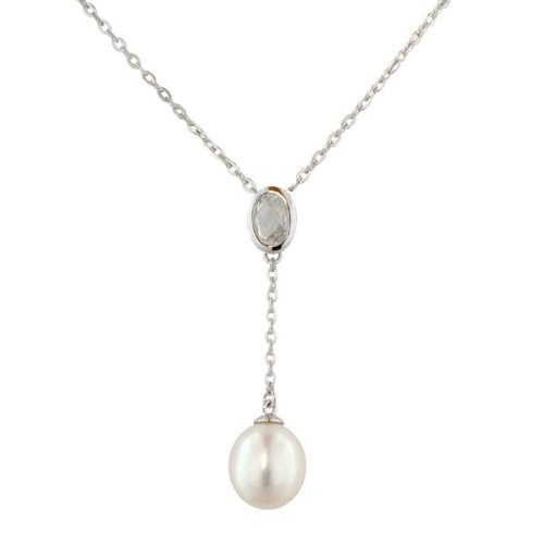 Sterling Silver White Topaz, Drop White Freshwater Cultured Pearl Pendant Necklace with Chain Necklace (1 11/20 cttw) 9mm ), 17+1