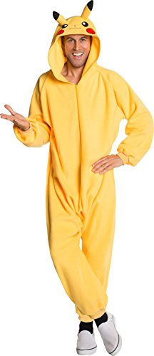 Rubie's Men's Pokemon Pikachu Jumpsuit Costume, Yellow, Standard