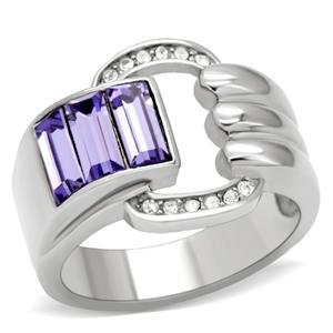 RIGHT HAND RING - Wrap Style High Polished Stainless Steel with Triple Trapezoid Tanzanite Top Grade Crystal Ring