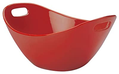 "Rachael Ray Stoneware 15"" Salad Serving Bowl, Red"