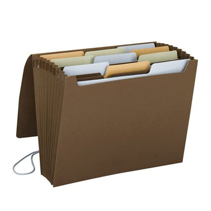 Smead Life...Organized File, Financial/Tax/Medical Labels, 10 Pockets, Flap and Elastic Cord Closure, Letter Size, Chocolate (70766)