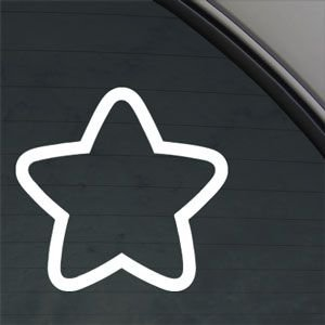 Small Star Outline White Sticker Decal Car Window Wall Macbook Notebook Laptop Sticker Decal