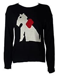 The Home of Fashion Ladies Novelty Black Knitted Scotty Dog With Bow Print Long Sleeve Jumper Size 8-14