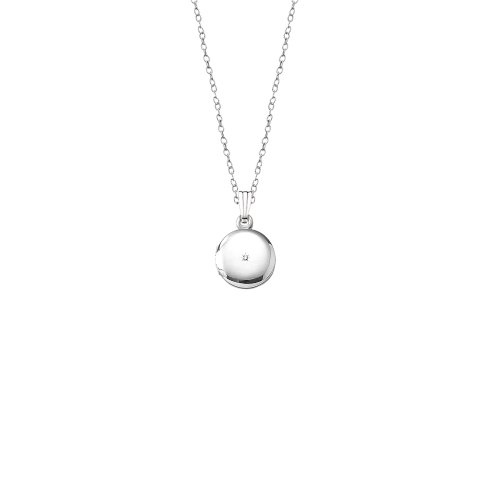 Children's-Baby Sterling Silver Diamond Round Locket Necklace, 13