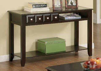 Cheap Console Sofa Table with Open Cubby and Shelf in Espresso (VF_F6211)