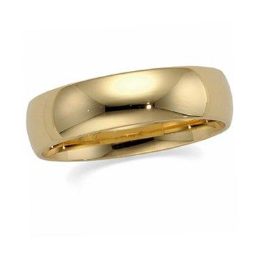 10K Yellow Gold, Light Comfort Fit Wedding Band 6MM (sz 7)
