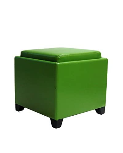 Armen Living Contemporary Storage Ottoman with Tray, Green