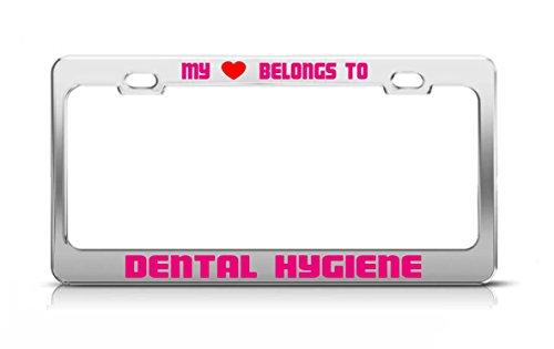 my-heart-belongs-to-dental-hygiene-school-major-license-plate-frame