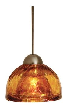 LBL Lighting HS266AMBZ1A35MPT Sophia Low Voltage Pendant, Bronze Finish with Amber Glass Shade