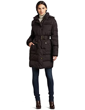 Tommy Hilfiger Women's Hooded Down Jacket, Hot Cocoa, Medium