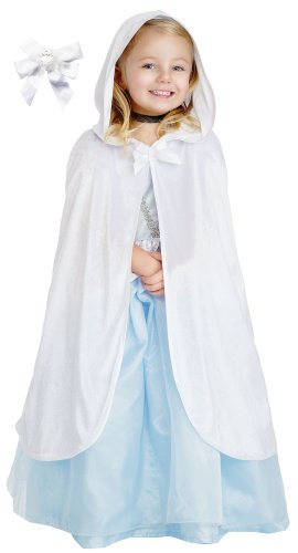 [Little Adventures 15054 Hooded White Velvet Cloak Dressup Age 5-9 with Hairbow] (The Best Halloween Costumes Ever Made)