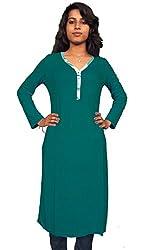 Miraaya Women's Cotton Hosiery Kurti (M2432C_78166_Green_Large)