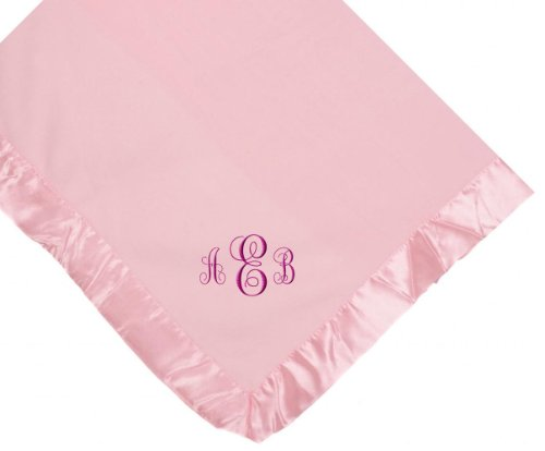 Custom Embroidered Monogram Pink Fleece Monogrammed Personalized Baby Blanket Yellow Thread front-407553