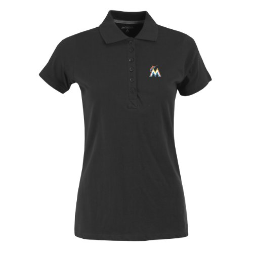 MLB Miami Marlins Women's Spark Polo, Black, Medium at Amazon.com