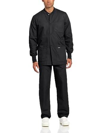 Landau Men's Warm Up Scrub Jacket, Black, Small