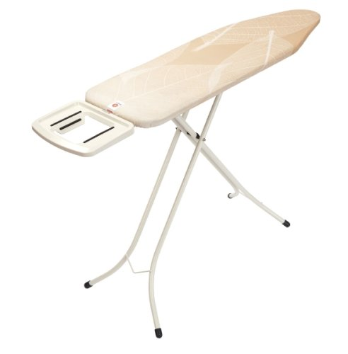 Brabantia Ironing Board with Solid Steam Iron Rest, Size B, 124 x 38cm, 22mm Ivory Frame, Leaves Cover
