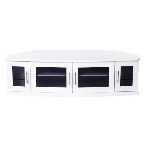 Plateau Newport62White Corner Wood Tv Stand With White Finish, 62-Inch