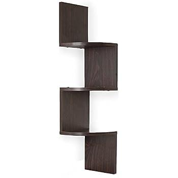 Adorn Home Essentials| Corner Zig Zag Wall Mount Shelves| 3-Tier, Walnut Finish
