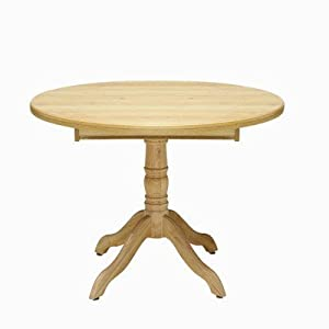 Driftwood Single Pedestal Round Dining Table In Limed Oak 107 145cm Kitchen Home