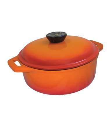 Le Cuistot Classic Enameled Cast-Iron 8.5 Quart Round Dutch Oven - 2 Tone Orange