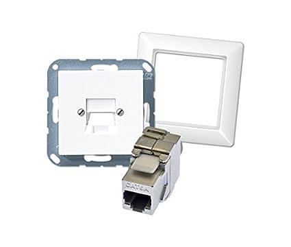 Jung Enjoliveur 1compartiment a569de boîtes de données-1nweww et 1compartiment Cadre as581ww + 1x jack Module Keystone cat. 6A 500MHz 10Gbit