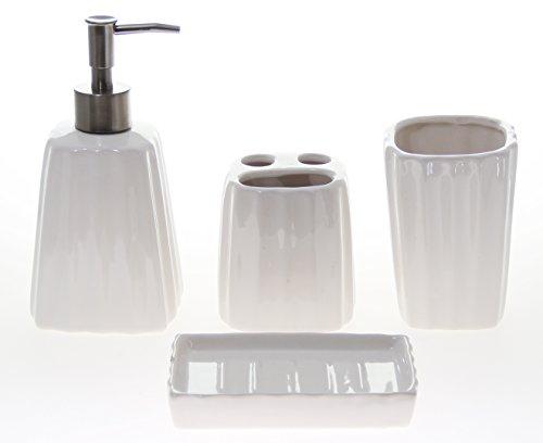 Justnile 4 piece ceramic bathroom accessory set white for Striped bathroom accessories sets