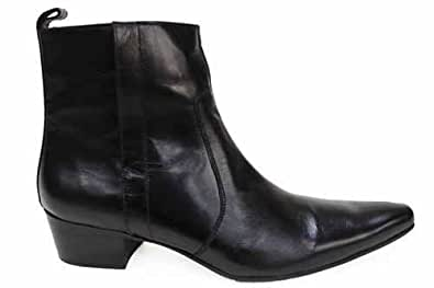 gucinari mens black leather cuban heel ankle shoes boots